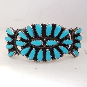 Jewelry - P. Jones Navajo Turquoise Petit Point Cluster Cuff